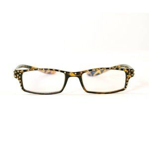 leopard print readers with swarovski accent